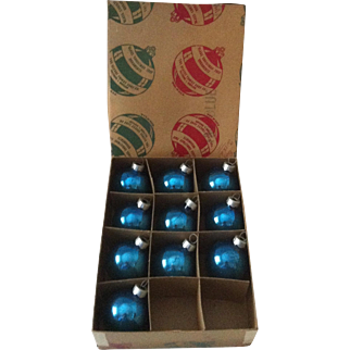 "1 3/4"" Blue Glass Ornaments ~ 10"
