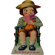 German Mechanical Valentine ~ Boy with Book