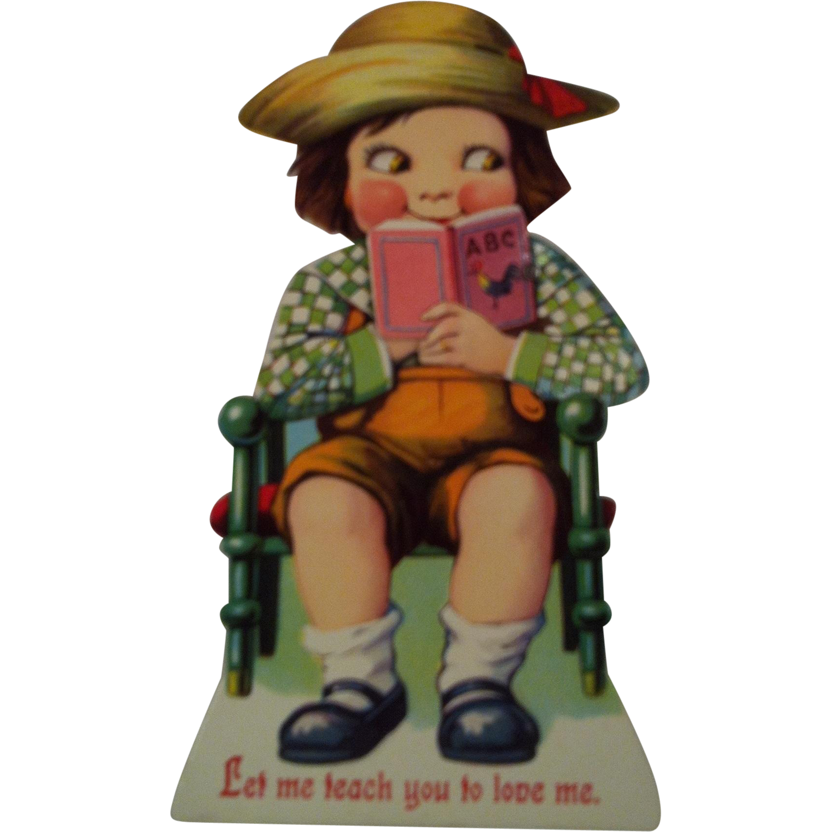 German Mechanical Valentine ~ Boy with Book