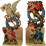 Pair Tiny Fold out Valentine Cards- Germany