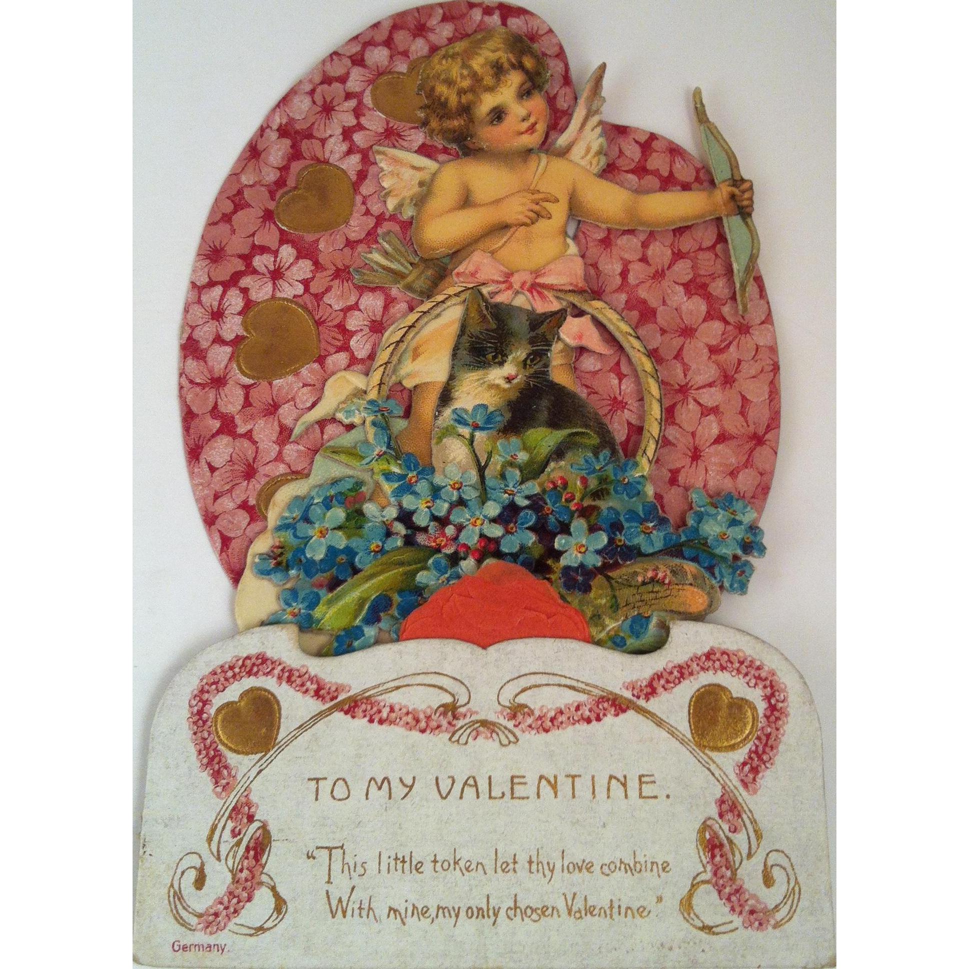 German Fold Out Cupid & Cat Valentine ~ unused