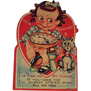 Mechanical Girl with Watch & Cat ~ unused