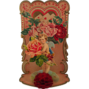 Fold out Cherub with Roses Valentine ~ Germany