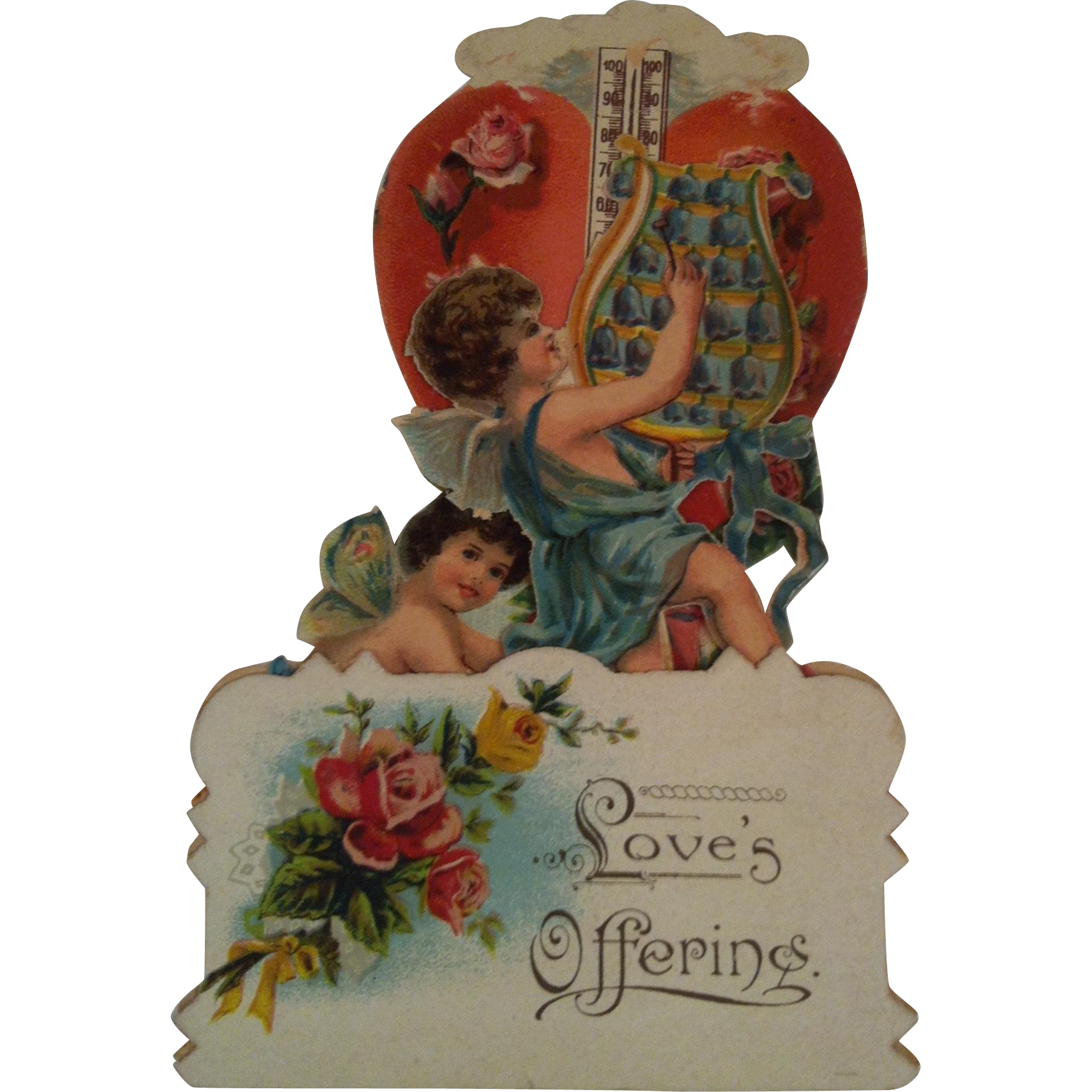 """Fold Out Cherubs & Thermometer """" Loves Offering """""""