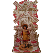 German Pull-Out Valentine Girl Windmill & Doves