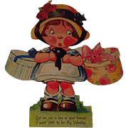 "7"" Easel Mechanical Valentine~ Girl with Hat Boxes"