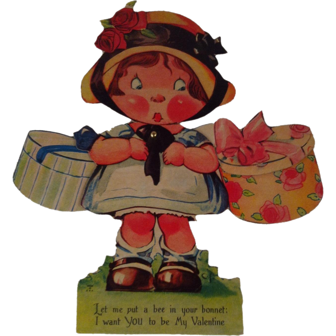 """7"""" Easel Mechanical Valentine~ Girl with Hat Boxes"""