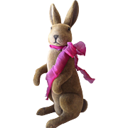 "17 1/2""  Vintage Flocked Standing Rabbit"