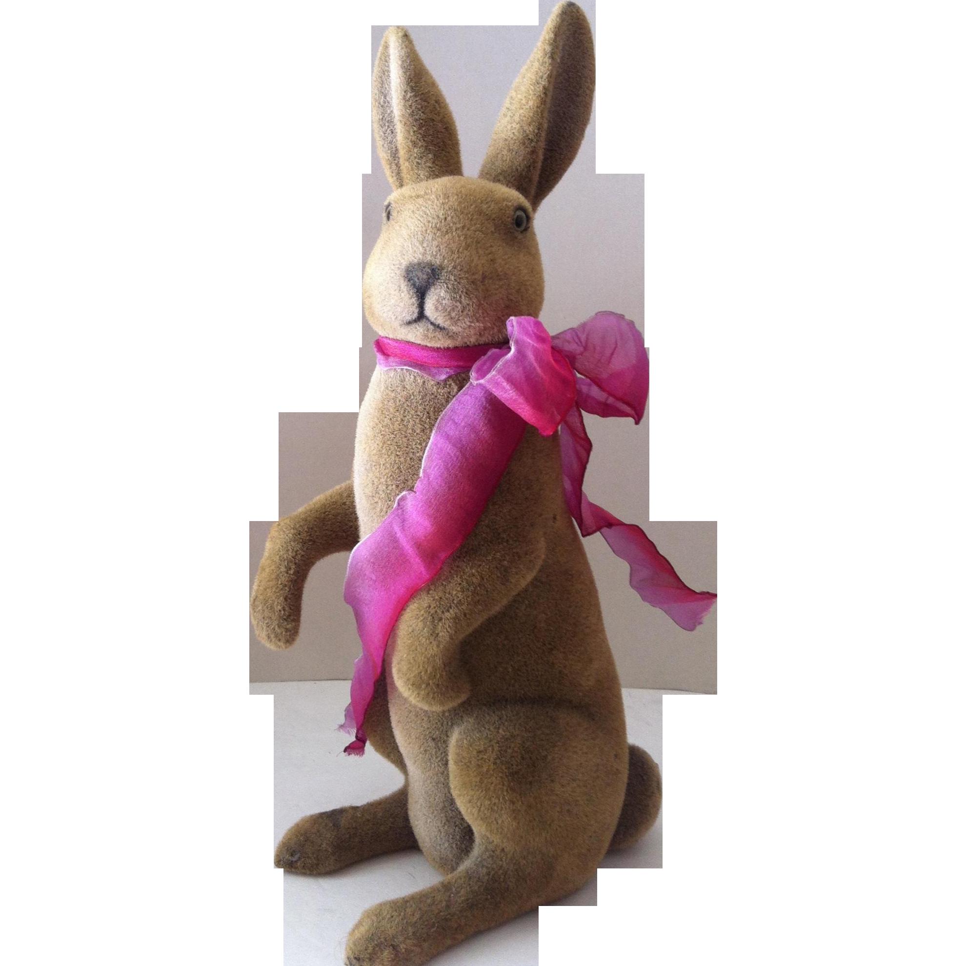 "17 1/2""  Vintage Flocked Standing Rabbit"
