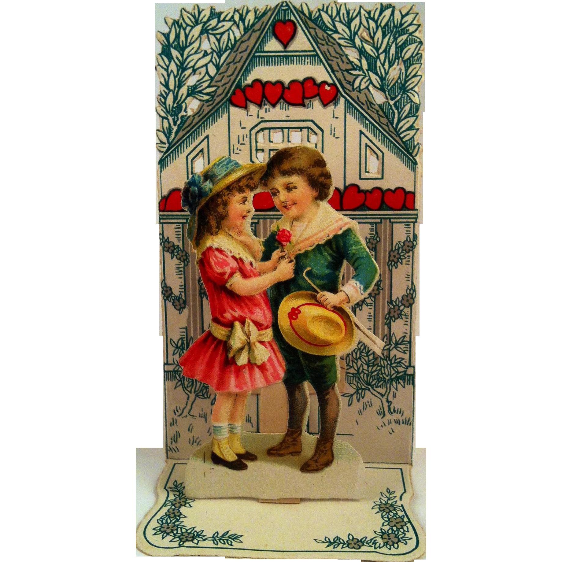 Vintage Fold Out Valentine~ Boy & Girl ~ germany