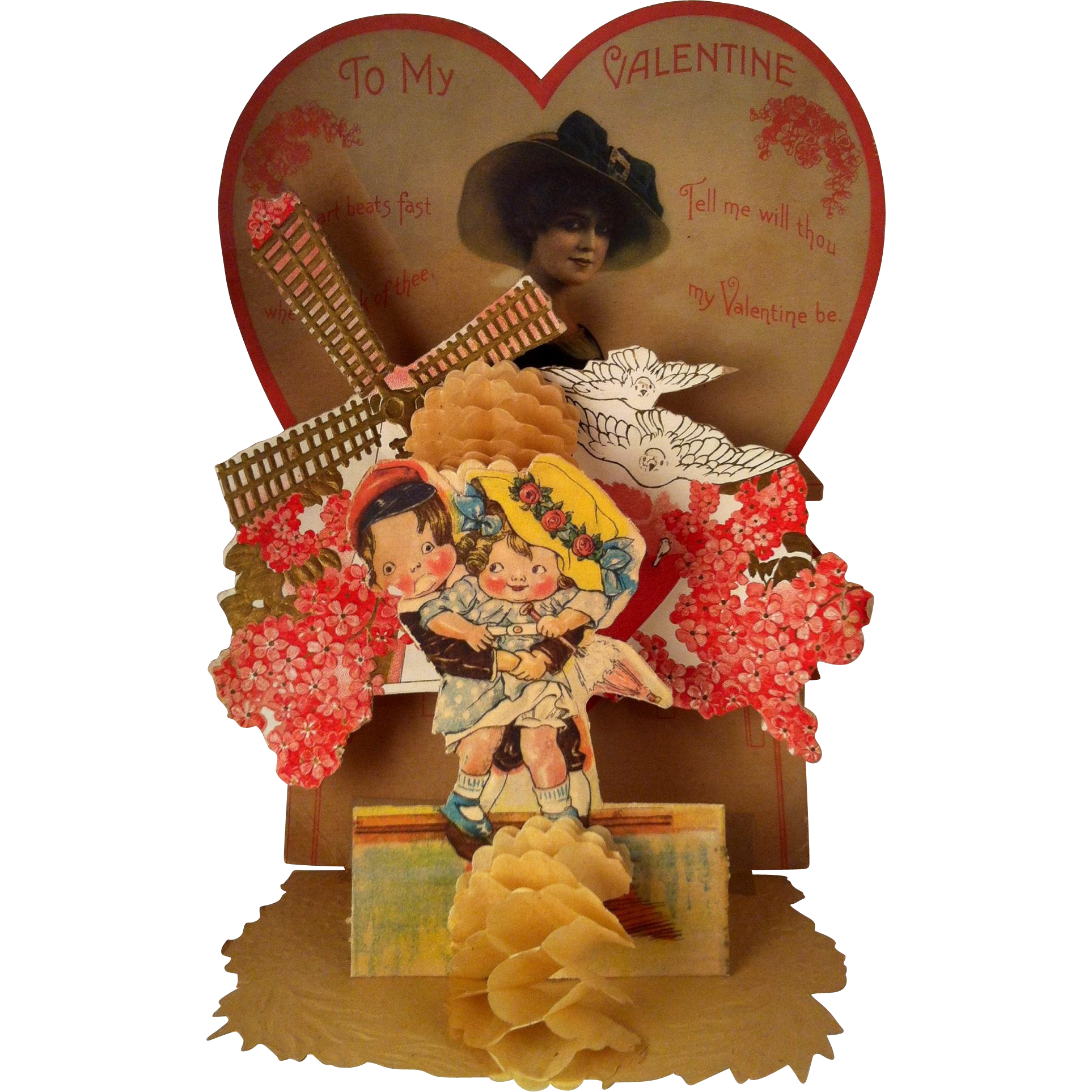 """9"""" Victorian Era Fold out Valentine ~ hand painted boy & girl"""