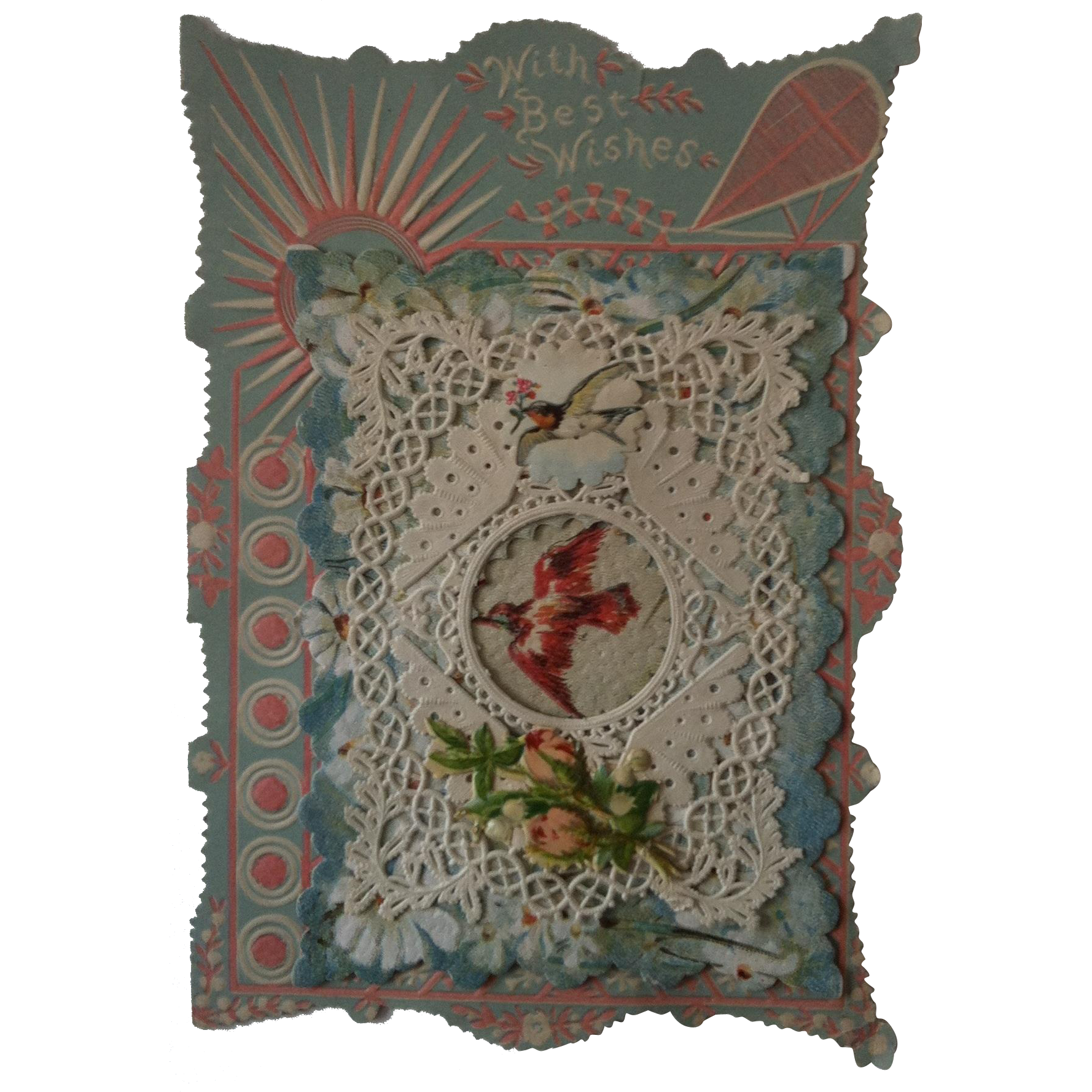 19th Century Paper Lace Valentine ~ Birds & Flowers