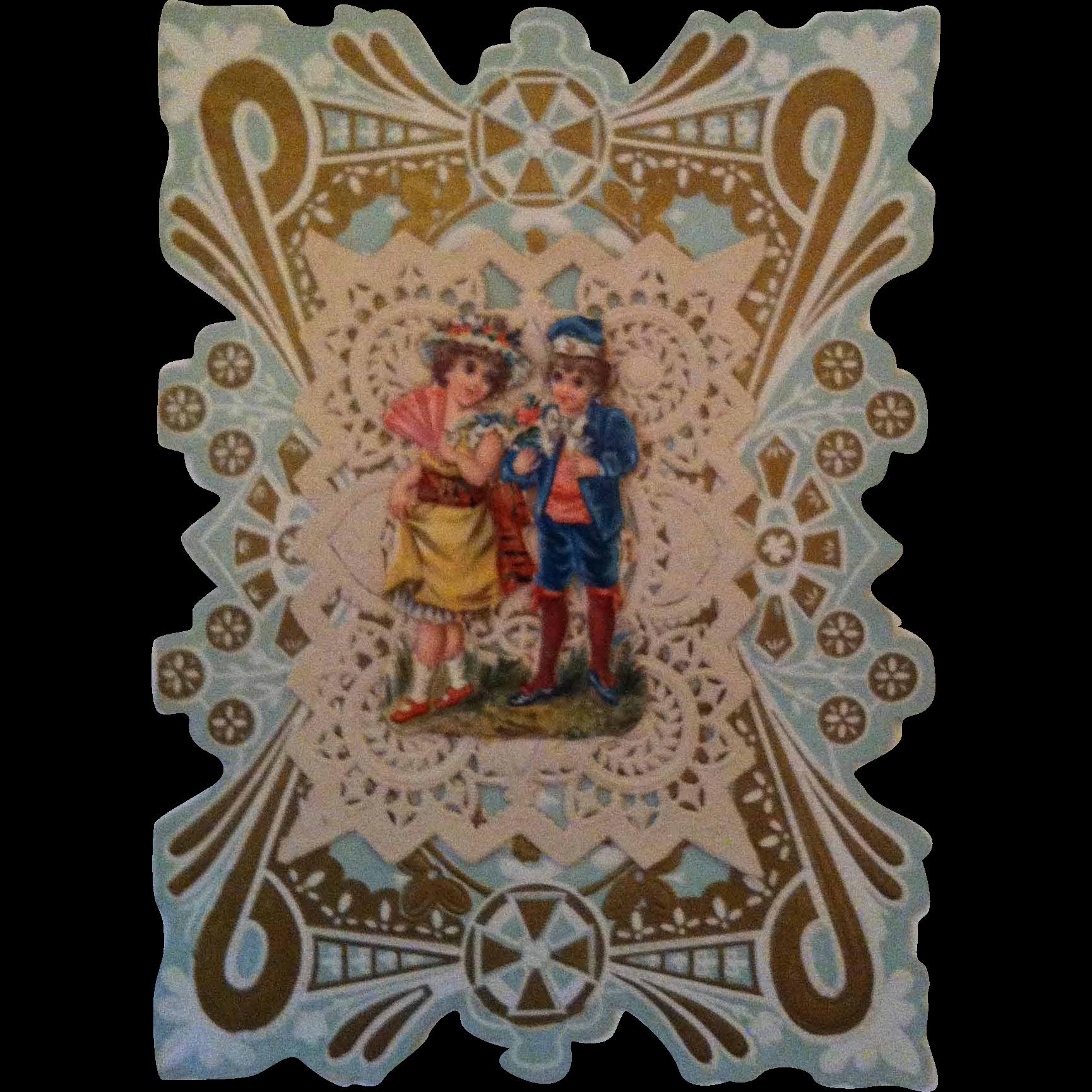 19th Century Paper Lace Valentine ~ Boy & Girl