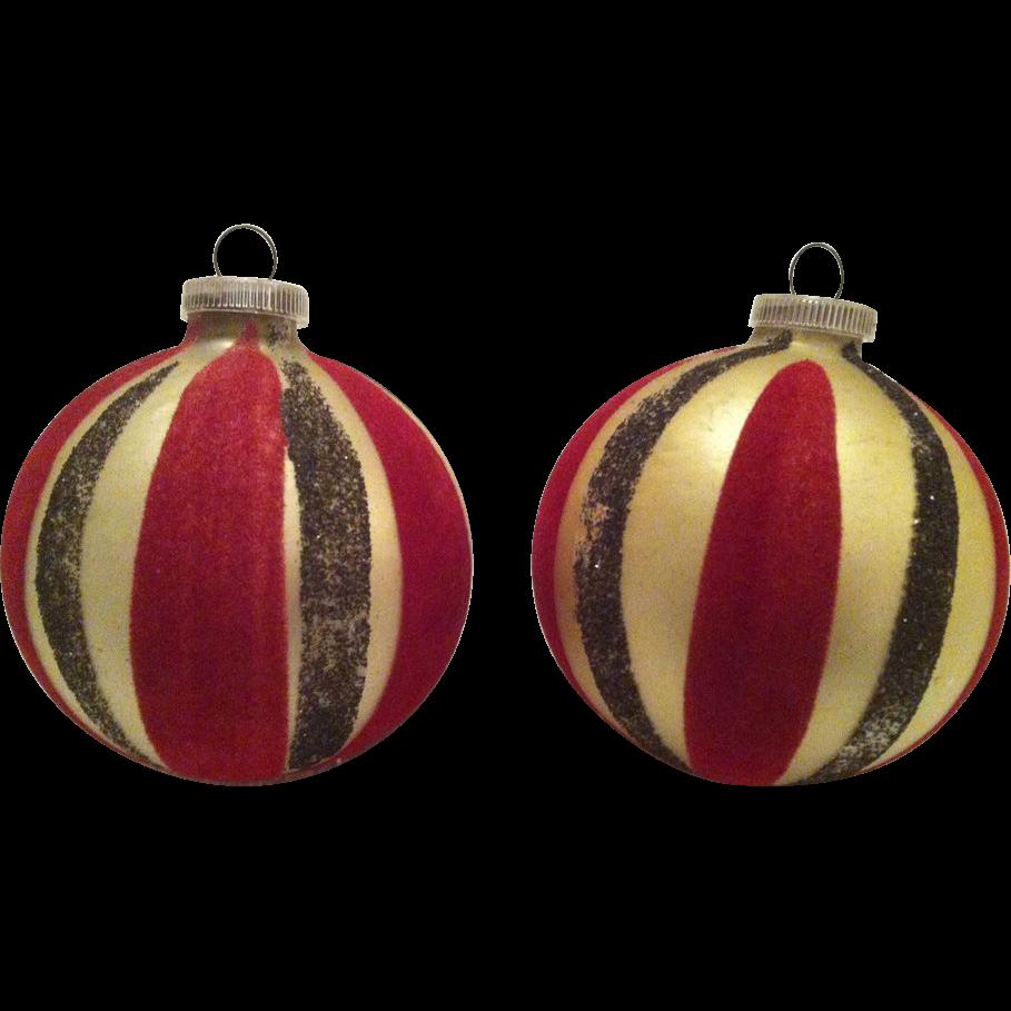 2 Jumbo West Germany Mica & Flocked Large Glass Christmas Balls