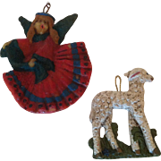 2 Wax West German Angle & Sheep Christmas Ornaments