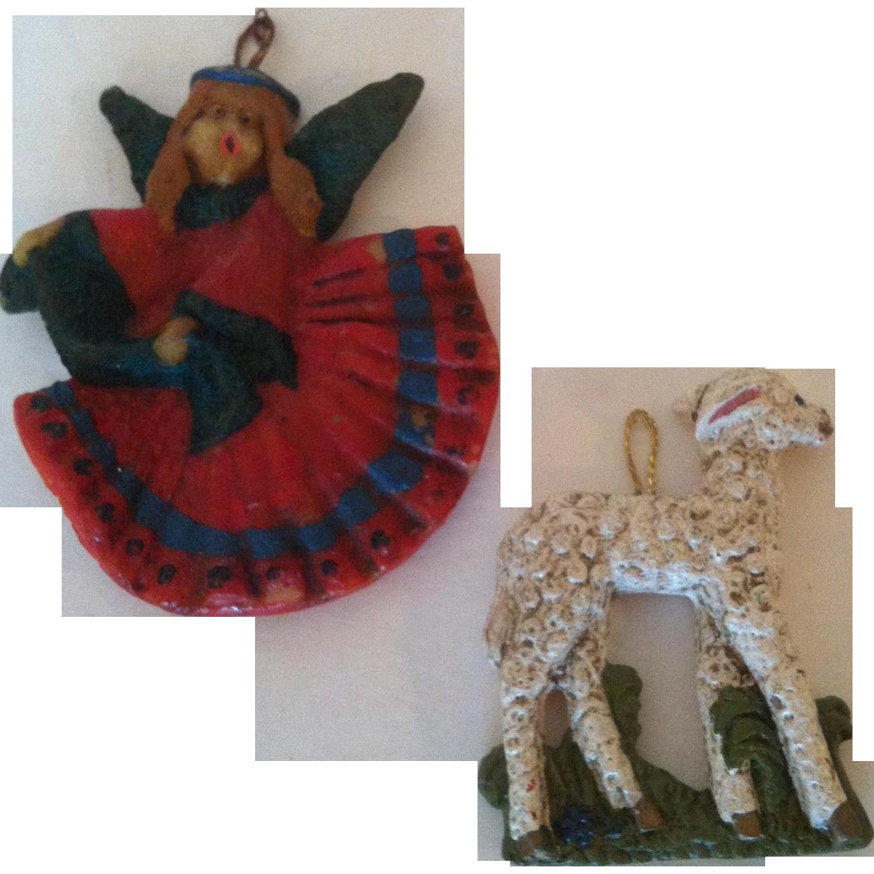 2 Wax West German Angle & Sheep Christmas Ornaments