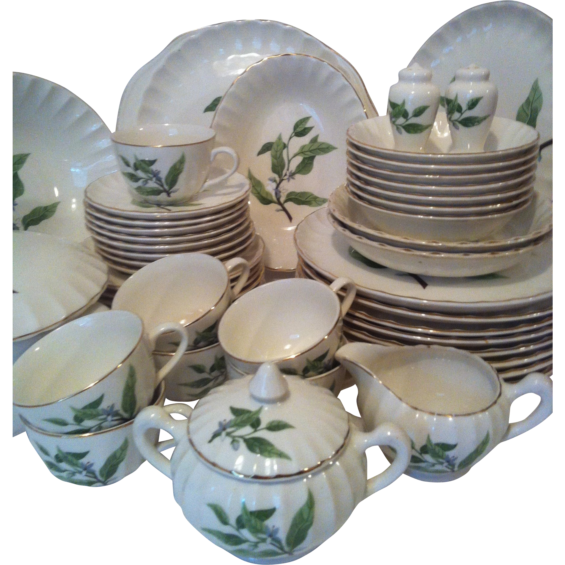48- W S George Bolero Green Valley #B8760 with Serving Pieces