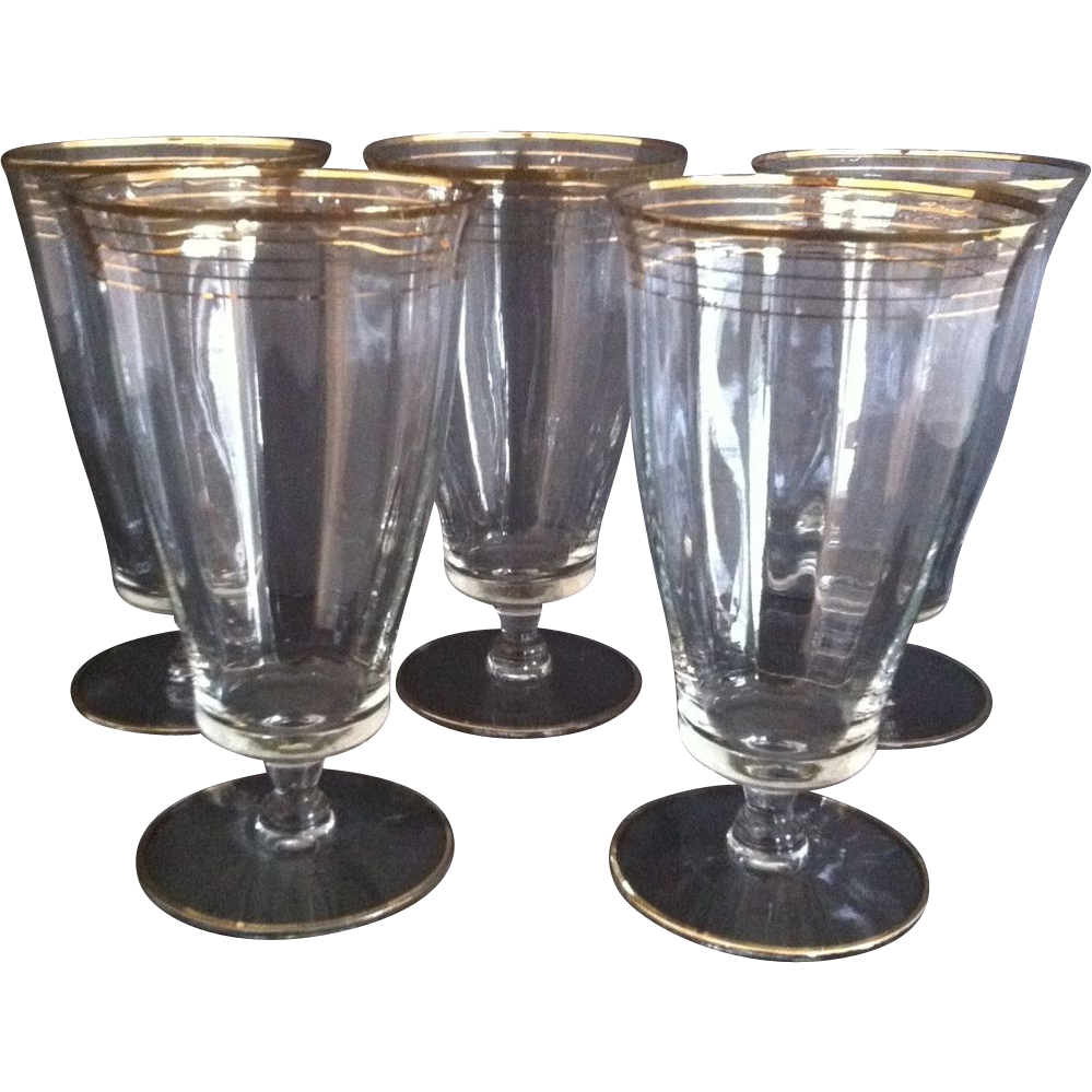 5 West Virginia Glass Ice Tea Goblets