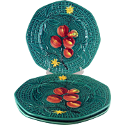 3 Zell Majolica Pomegranate Basket Weave Plates