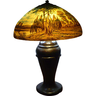 Handel scenic lamp signed John Bailey