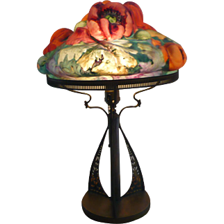 Pairpoint puffy red & orange poppy lamp