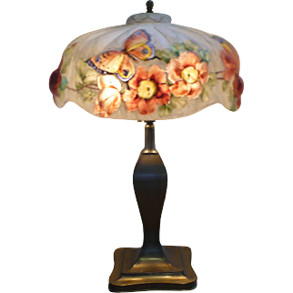 Pairpoint rose & butterfly lamp