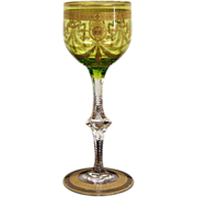 Moser Bohemian Congress Patter Green Color gilt Etched Cut Glass Wine Glass