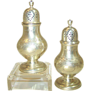 Scottish Sterling Silver Hamilton & Inches Salt & Pepper Shakers Edinburgh Scotland, 1926