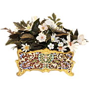 Antique French Champleve Gilt Bronze Cache Pot/Planter circa 1880s