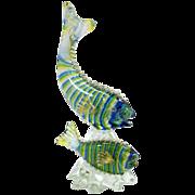 Large Italian Murano Glass Hand Blown Colored Fish Statue 20th century