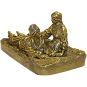 Antique Russian Bronze Sculpture Modeled after Grachev of Young Lovers 19th century