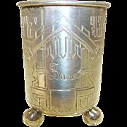 Antique Russian Silver Vodka Cup/Beaker Hand Engraved, Oleks 1890