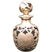 Gorham Pure Silver Overlay Colorless Glass Perfume Bottle circa 1900