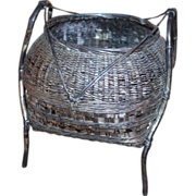 Japanese Pure Silver 'Jungin' Hand Woven Basket Meiji Period late 19th century