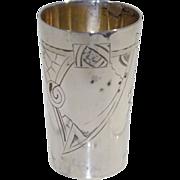 Russian 84 Silver Art Nouveau Spider Net Engraved Shot Glass/Cup circa 1915