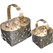 CARTIER Sterling Silver Two Hand Made Baskets Large & Small 20th century