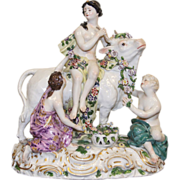 Sevres French Painted Porcelain Figure Rape of Europa after F. Boucher late 19th century