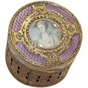 Details about  Antique French Gilt Brass Guilloche Lavender Enamel Painted Box circa 1915