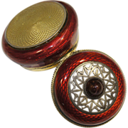 Austrian 800 Gilt Silver Guilloche Burgundy/Deep Red Enamel Potpourri Box circa 1920s