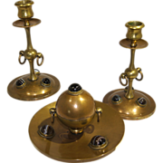 Brass & Agate Stones Inkwell & Pair Desk Set Candlesticks late 19th century