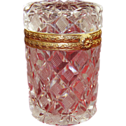 French Colorless Cut Glass/Crystal Cylindrical Box Gilt Bronze Hinged 20th century