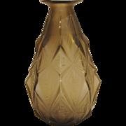 Art Deco Sabino French Opalescent Frosted Smoky Quartz Glass Vase circa 1930s