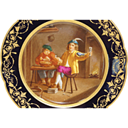 Sevres Style Porcelain Hand Painted Cabinet Plate Tavern Scene