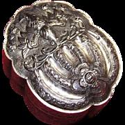 Chinese Silver Hinged Box Bat & Peach Tree Design Allegorical Longevity circa 1900