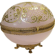French Pink Opaline Glass Egg-Shaped Large Casket/Box Etched Gilt Décor