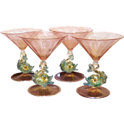 Venetian Four Martini Stems Hand Blown Glasses Dolphins early 20th century