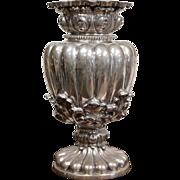 Portuguese Sterling Silver Large Vase Rococo style circa 1880