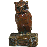 ART DECO French Bronze Owl Sculpture Sitting Upon Book 1930s Onyx Stone