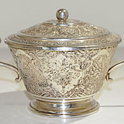 Persian Iranian 840 Silver Hand Engraved Covered Dish/Sugar Bowl w/Handles early 20th century