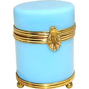 French Turquoise/Light Blue Opalescent Glass Box Gilt Brass Hinge Shell Clip